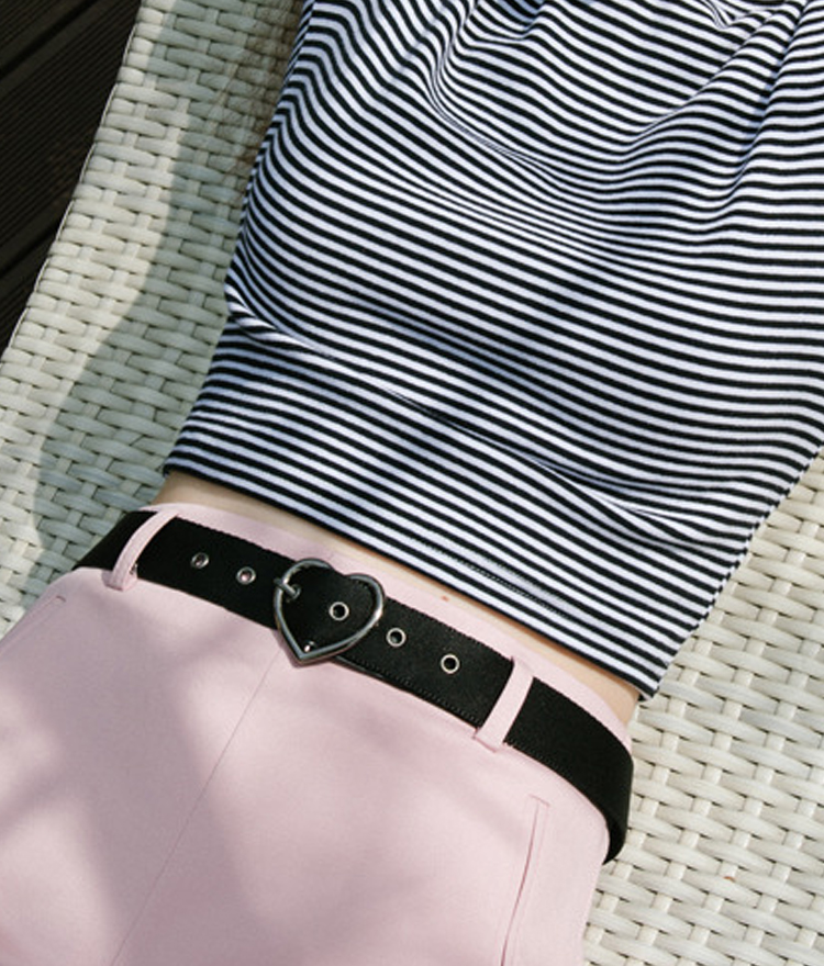 Heart Buckle Belt(Black)