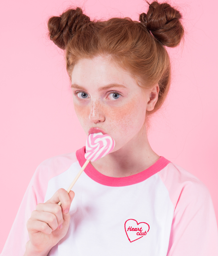 Heart coloration raglan(Pink)