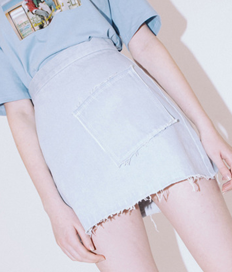 Pocket Denim Skirt(Light blue)