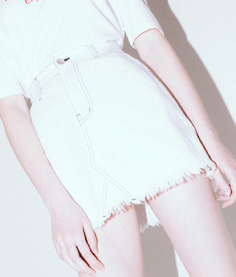 Stitch Point Skirt(White)