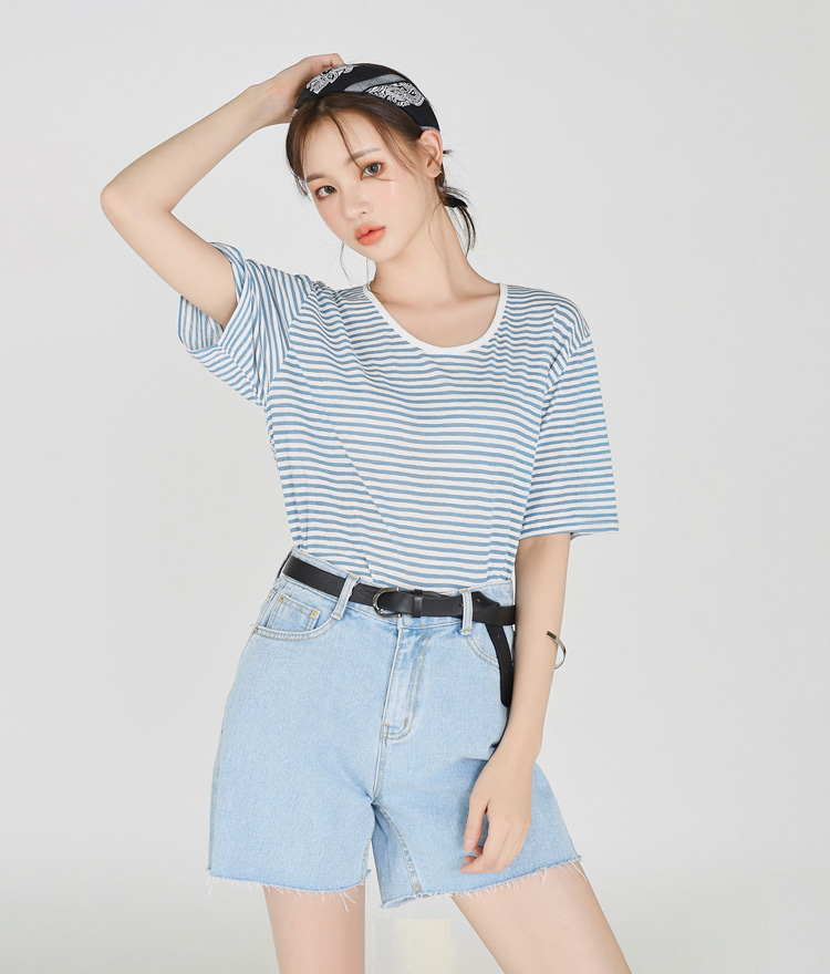 Summer Striped Round-neck Top