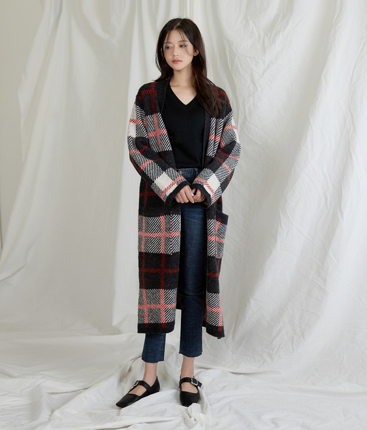 Herringbone Long Checked Cardigan