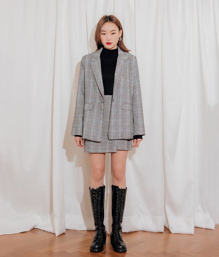Overfit Single Button Check Jacket Check Slim Slit Skirt 세트상품